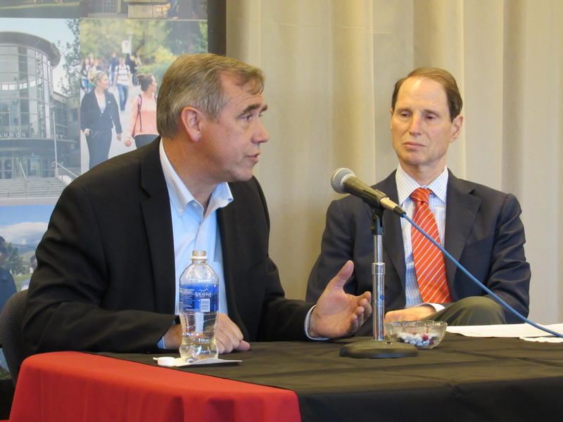 U.S. Senators Jeff Merkley and Ron Wyden visited Southern Oregon University Wednesday to talk with students about their efforts at student debt relief.