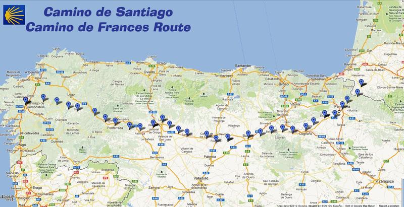The most popular route to Santiago de Compostela is the Camino Frances which starts in the town of Saint Jean Pied de Port located on the French side of the Pyrenees.