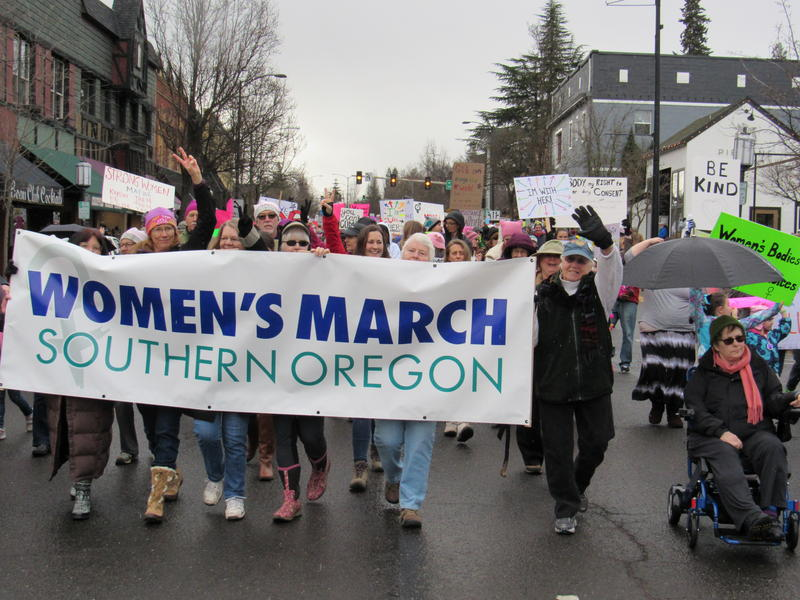 The Women's March Southern Oregon in downtown Ashland, Oregon, on Saturday, Jan. 21, 2017.