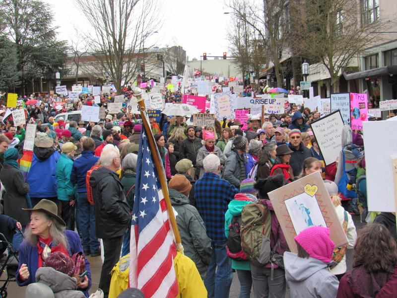 Ashland's main plaza was jammed as an estimated 8,000 people filed through on the way to a rally at Lithia park.
