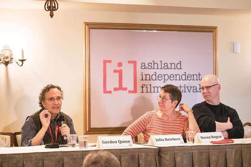 "Documentary filmmaker Steven Bognar moderated the Filmmaker Talkback Panel ""Activist Film Collectives: Kartemquin & New Day Films"" with Gordon Quinn (executive producer, Hoop Dreams) and Julia Reichert (Union Maids) at AIFF 2016."