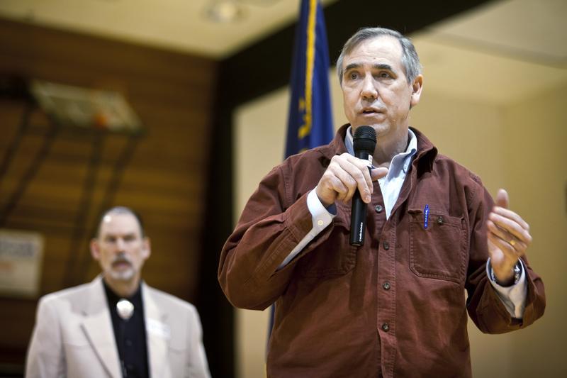 Oregon Senator Jeff Merkley speaks at a town hall-stylr meeting at Umpqua Community College in Roseberg on Saturday, March 25