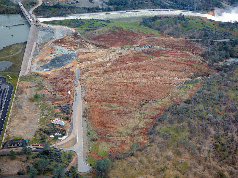 Erosion at the base of the Oroville Dam emergency spillway in February 2017 nearly caused its failure. More than 180,000 people evacuated.