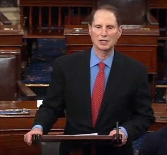 Oregon Senator Ron Wyden speaking on the Senate floor Monday afternoon against the House Republican health care plan meant to replace Obamacare.