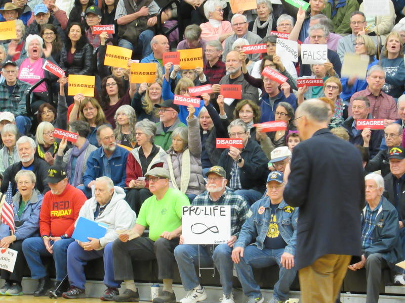 The crowd was large, vocal and mostly unfriendly during Republican Rep. Greg Walden's Town Hall meeting with constituents at North Medford High School on Friday, April 14.