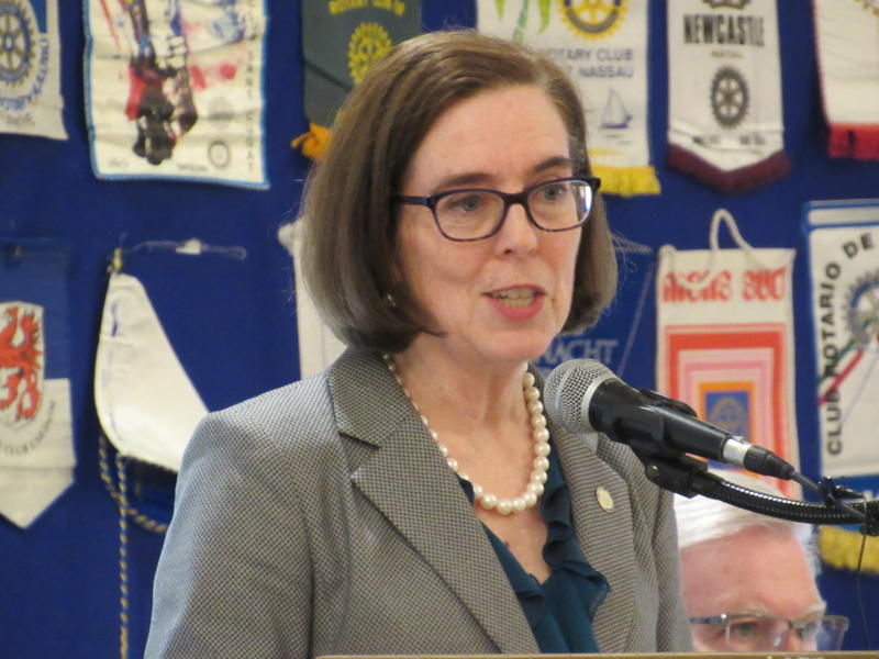 Oregon Gov. Kate Brown talks about her budget priorities during a Rotary Club luncheon in Medford on April 19.