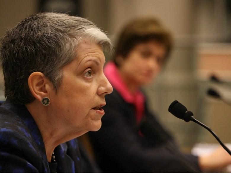 University of California President Janet Napolitano testifies during a California Assembly hearing on the critical audit of the UC Office of the President on Tuesday, May 2, 2017.
