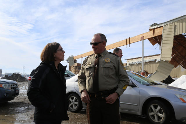 Oregon Gov. Kate Brown with Malheur County Sheriff Brian Wolfe on Friday, Feb. 10, 2017.