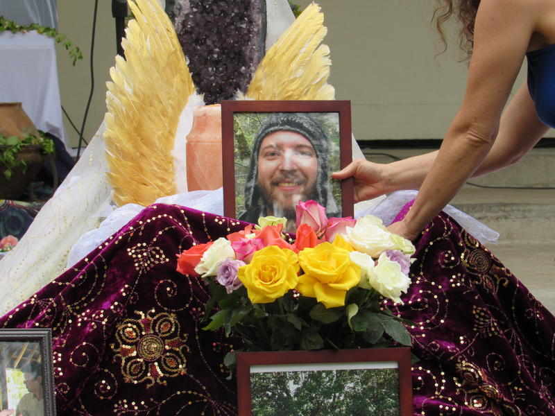 A huge altar with flowers, crystals and photos of Taliesin Namkai-Meche was created by friends and family of the 23-year old who recently died in a knife attack on a Portland train.