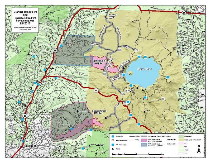 A map of Crater Lake National Park shows the two fires growing near the lake as of Aug. 8 at 8 a.m.