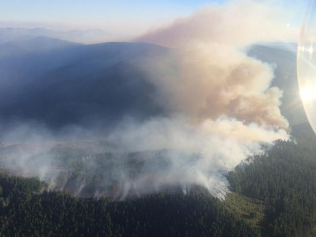 An aerial view of the Chetco Bar fire burning in the Kalmiopsis Wilderness on August 17, 2017.