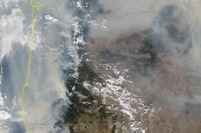 Satellite image of smoke, Tuesday morning, September 6, 2017.