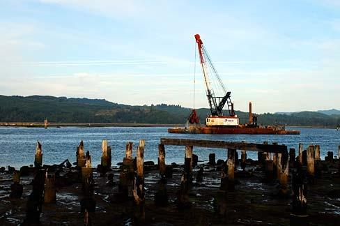 A dredge barge near Coos Bay, Oregon.