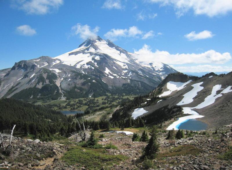 The view of Mount Jefferson from Jefferson Park Ridge.