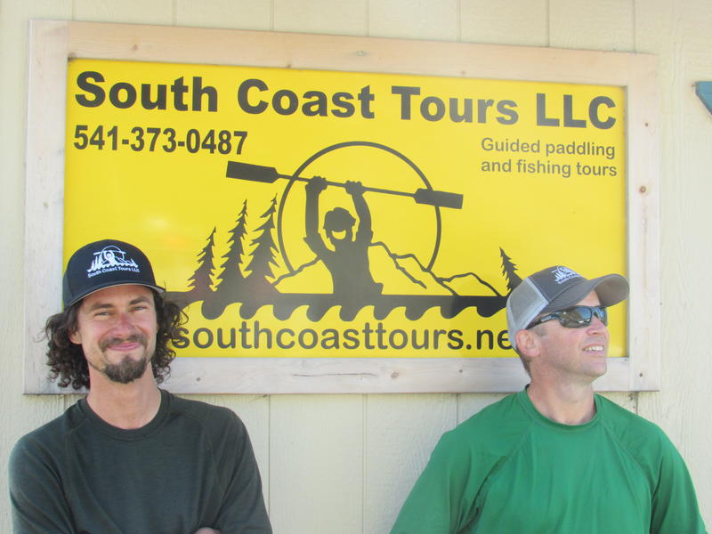 Dave Lacey (R), owner of the South Coast Tours sea kayak outfitter, stands with Anthony Sigg, one of his guides. The company is another likely tenant for the Port of Port Orford's planned new facility.