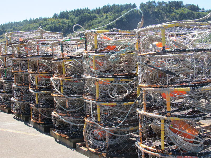 Crab traps are stacked at the Port of Port Orford.  Crab is a major catch among boats fishing out of the port.