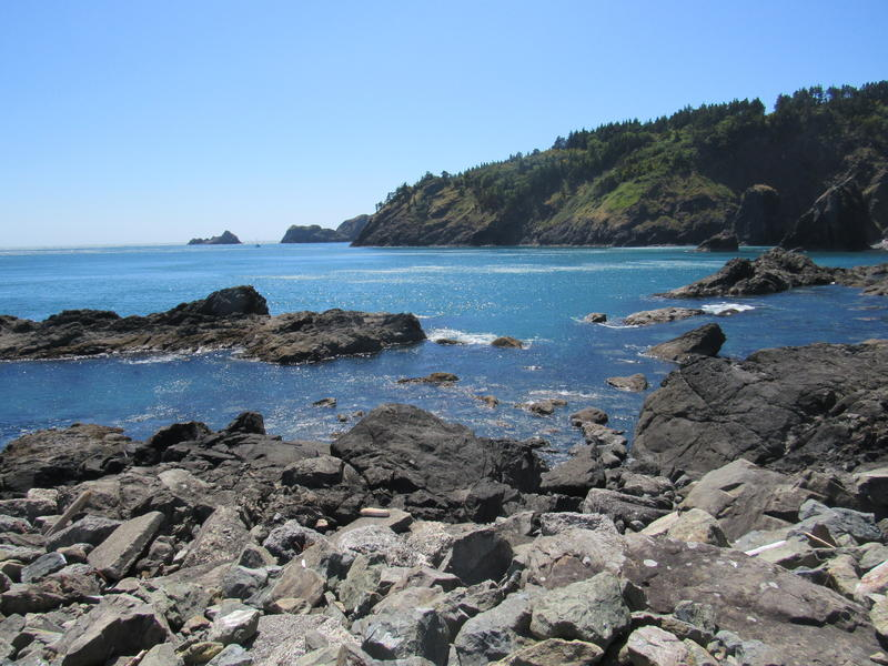 Looking out toward the Pacific Ocean from the dock at the Port of Port Orford, Oregon.
