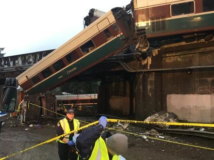 An Amtrak train derailed Monday, Dec. 18, onto Interstate 5 just south of Tacoma, Wash.