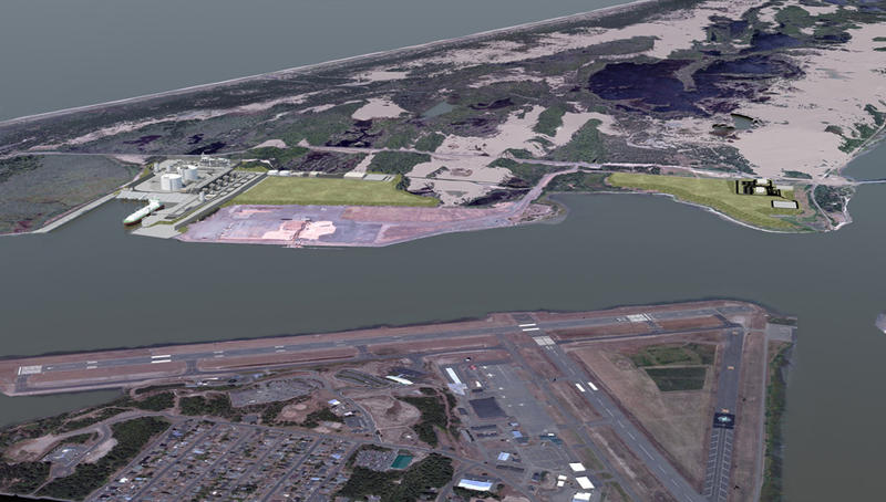 An aerial view of the proposed site of the Jordan Cove LNG project in Coos Bay.