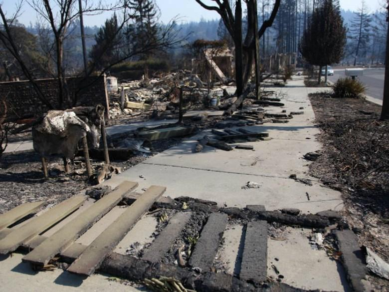 Rubble was all that remained of some buildings in Santa Rosa on October 12, 2017, in the wake of the Tubbs Fire.