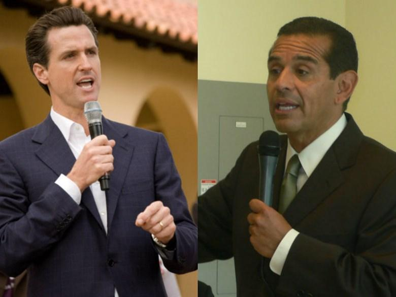 Lt. Gov. Gavin Newsom (L) and former Los Angeles mayor Antonio Villaraigosa are the frontrunners in a recent poll of the candidates for the California governorship.