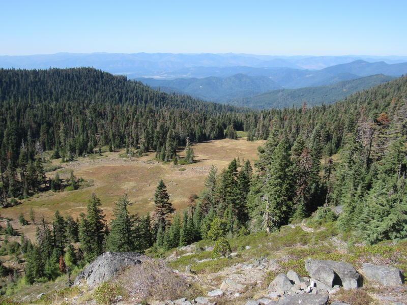 The view from the rim of Bigelow Lakes Basin, looking west toward the Oregon Caves National Monument. This is a Forest Service grazing allotment that hasn't been active in nearly ten years.