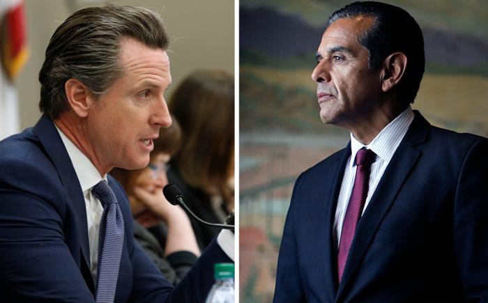 California Lt. Gov. Gavin Newsom (left) and former Los Angeles Mayor Antonio Villaraigosa, both Democrats, are competing in the 2018 California governor's race.