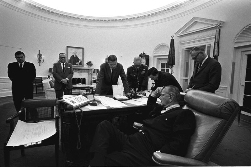 LBJ and staff discuss 1967 race riots.
