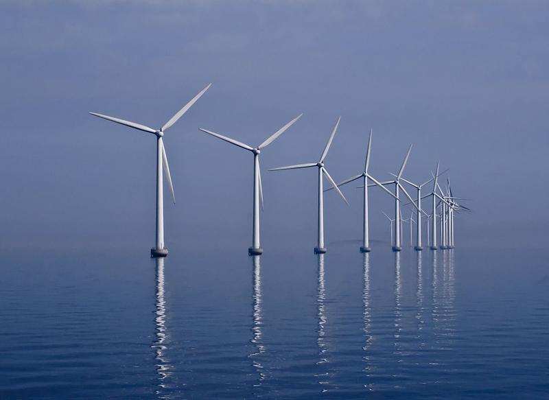 A European wind farm offshore.