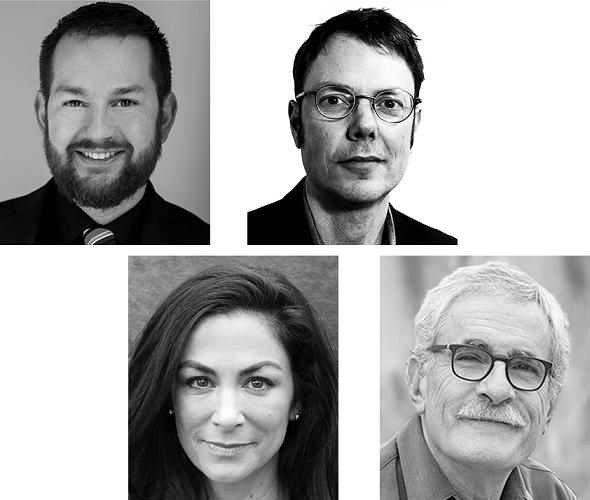 From top left: Kevin Stine, Julian Bell, Athena Goldberg, Jeff Golden