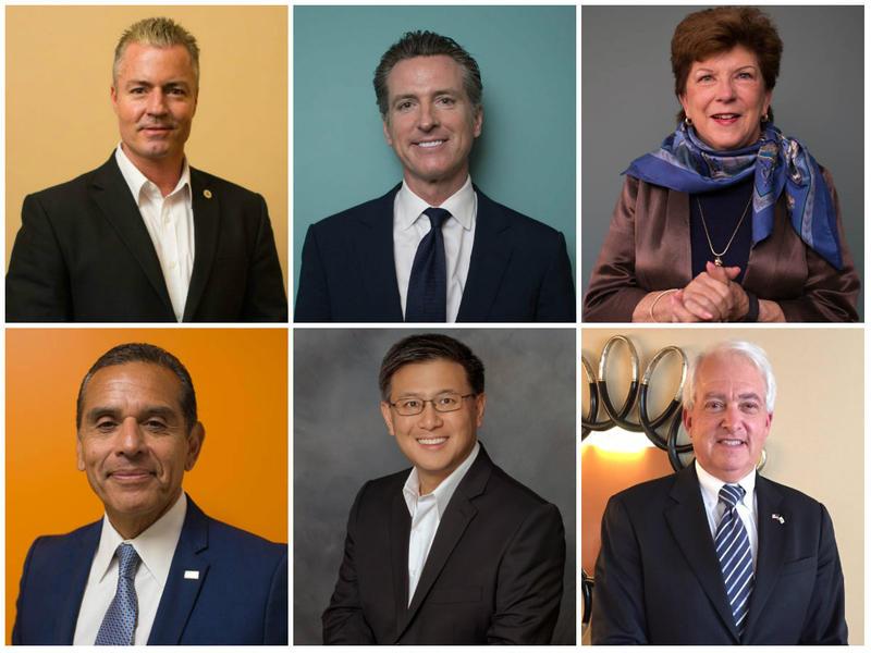 Top, from left to right: Gubernatorial candidates Travis Allen, Gavin Newsom and Delaine Eastin. Bottom: Candidates Antonio Villaraigosa, John Chiang and John Cox.