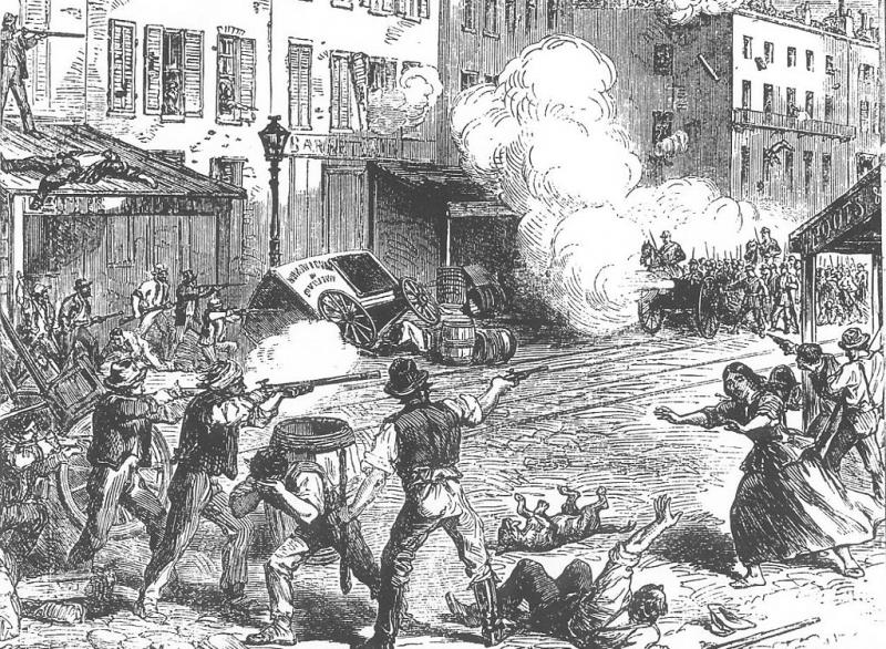 Draft riot in New York City, 1863.