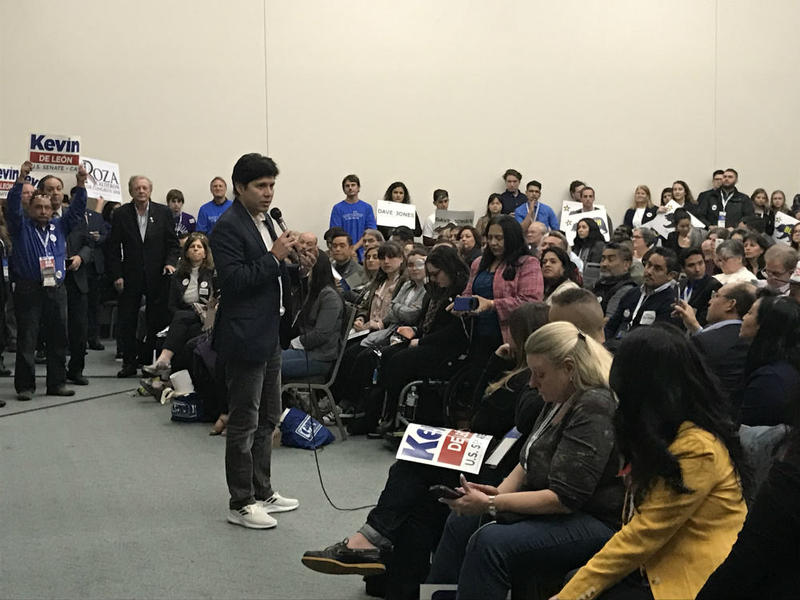 California state Sen. Kevin de León speaks at the California Democratic Convention in February 2018.