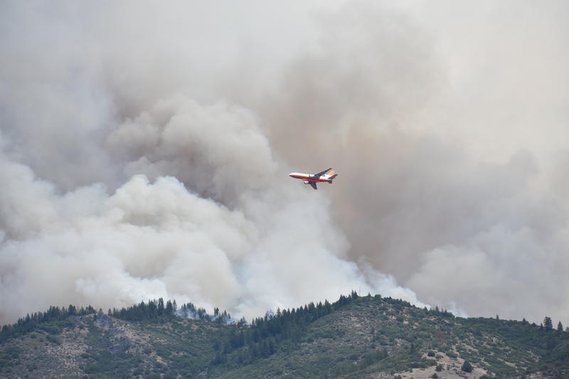 An air tanker returning to its base in Medford after dumping its load of fire retardant on the Klamathon fire on Saturday, July 7.