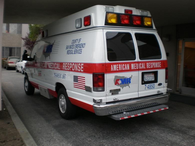 A San Mateo County American Medical Response ambulance in Daly City, Calif.