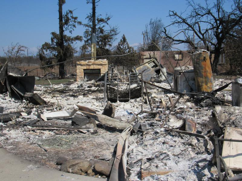 A house in Redding's Lake Keswick Estates neighborhood, totally destroyed by the Carr fire.