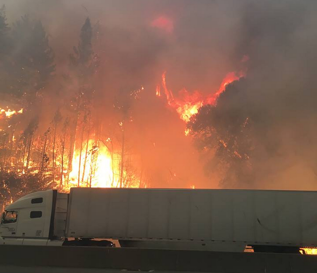 The Delta fire burns next to I-5 in Shasta County, California.