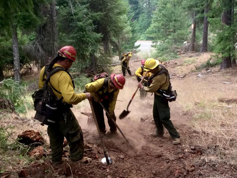 Firefighter Judy Hoffman helps dig line to stop a wildfire.