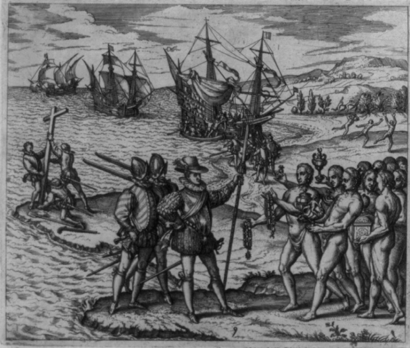 Columbus's landing in an old European engraving.