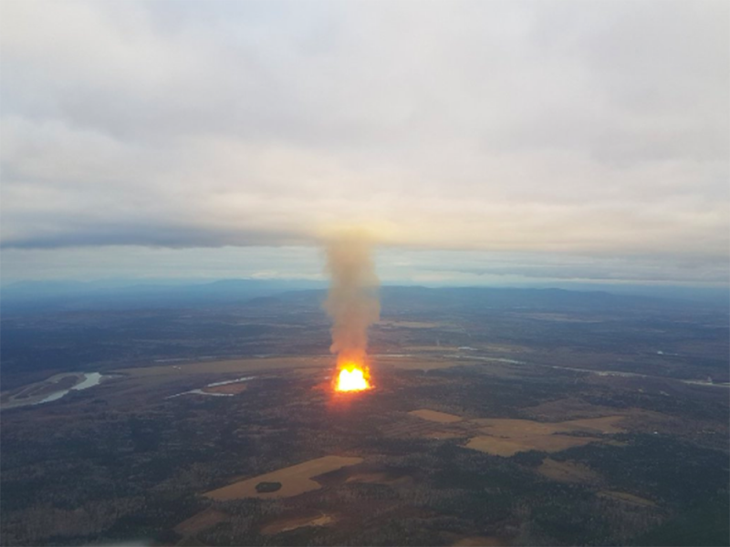 Near Prince George, British Columbia, one of two natural gas pipelines exploded