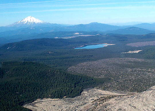 Medicine Lake in the foreground, Mt. Shasta in the distance.