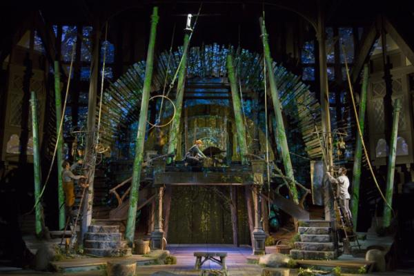 The Elizabethan Stage set by designer Michael Ganio and lighted by Mary Louise Geiger, with video projections by Alexander Nichols serves for three productions this season.