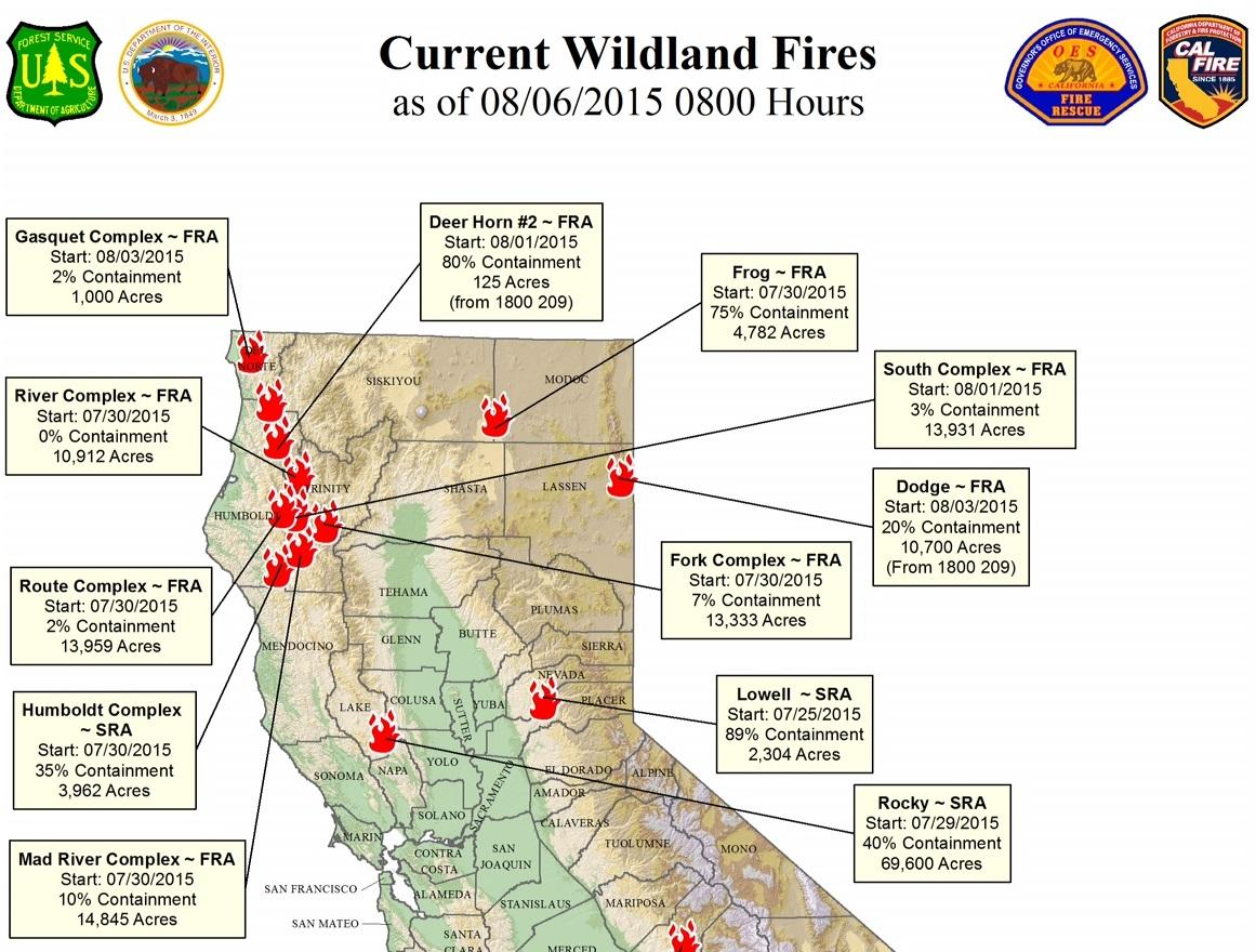Here's A Map Of All The Northern California Fires | Jefferson Public ...
