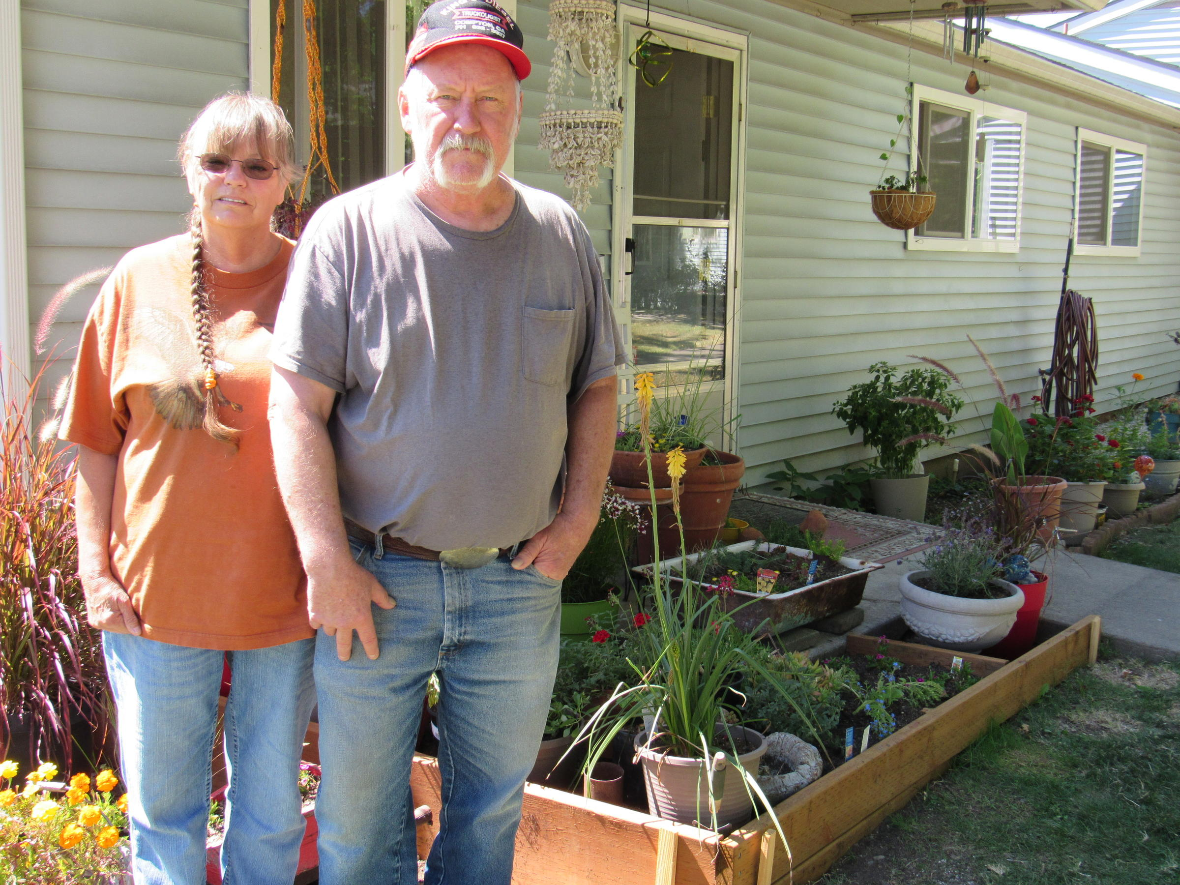 Linda And Larry Pratt And Their Garden At Patio Village In Talent, Oregon.