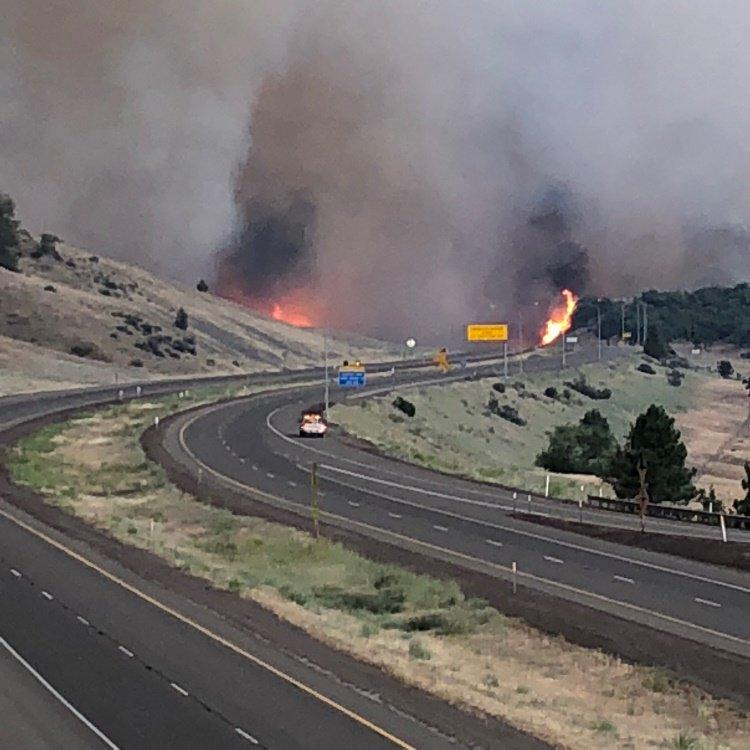 The Klamathon fire burning both sides of I-5 south of the Hilt interchange as of 8:30 p.m. Thursday