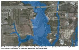 The 100-year floodplain around Mission Espada.