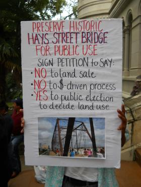 Hays Street Bridge protest sign
