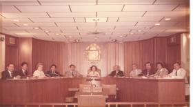 Frank Wing (second from left) on City Council in 1979 under then-Mayor Lila Cockrell.