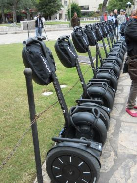 Brand new Segways lined up outside the Alamo on Wednesday afternoon.