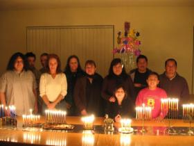 Rabbi Yosef Garcia's congregation, Avde Torah Jayah, celebrates Hanukkah in 2011.